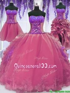 Luxurious Four Piece Pink Sleeveless Floor Length Embroidery and Ruffles Lace Up Quinceanera Dress