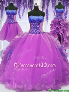 Inexpensive Four Piece Strapless Sleeveless Lace Up Ball Gown Prom Dress Purple Organza