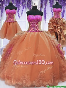 Fantastic Four Piece Orange Ball Gowns Organza Strapless Sleeveless Embroidery and Ruffles Floor Length Lace Up Sweet 16 Dress