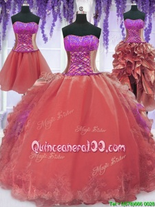 Unique Four Piece Watermelon Red Lace Up Quinceanera Dresses Embroidery and Ruffles Sleeveless Floor Length