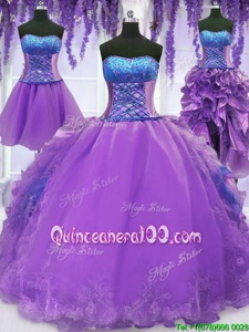 Modern Four Piece Lavender Ball Gowns Strapless Sleeveless Organza Floor Length Lace Up Embroidery and Ruffles Quinceanera Dresses