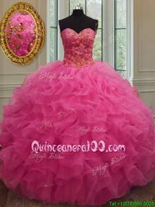 Nice Sleeveless Floor Length Beading and Ruffles Lace Up Ball Gown Prom Dress with Hot Pink