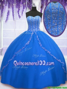 Sleeveless Floor Length Beading and Sequins Lace Up Quince Ball Gowns with Royal Blue
