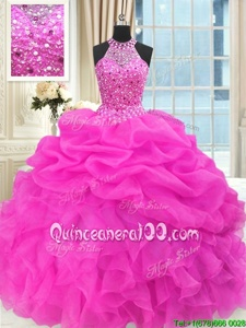 Admirable Spring and Summer and Fall and Winter Organza Sleeveless Floor Length Quinceanera Dresses andBeading and Pick Ups