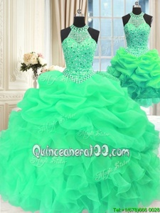 Beautiful Three Piece Sleeveless Organza Floor Length Lace Up Quinceanera Gown inGreen forSpring and Summer and Fall and Winter withBeading and Pick Ups