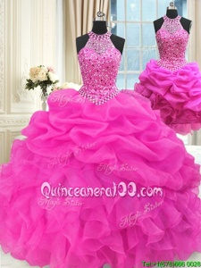 New Arrival Three Piece Sleeveless Lace Up Floor Length Beading and Pick Ups 15 Quinceanera Dress