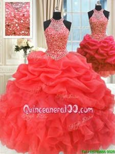 Noble Three Piece Watermelon Red High-neck Neckline Beading and Pick Ups Vestidos de Quinceanera Sleeveless Lace Up