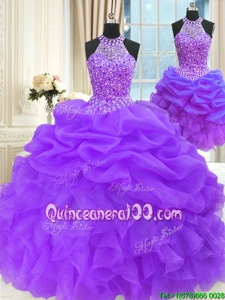 Deluxe Three Piece Sleeveless Beading and Pick Ups Lace Up Quinceanera Gown