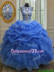 Edgy Scoop Floor Length Ball Gowns Sleeveless Blue Quinceanera Dresses Lace Up