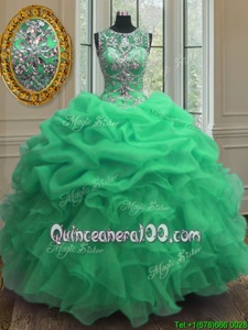 Latest Scoop Spring and Summer and Fall and Winter Organza Sleeveless Floor Length Quinceanera Dress andBeading and Ruffles