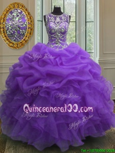 Custom Design Scoop Purple Sleeveless Beading and Ruffles and Pick Ups Floor Length Sweet 16 Dresses