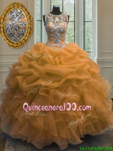 Vintage Orange Lace Up Scoop Beading and Ruffles and Pick Ups Quinceanera Gown Organza Sleeveless
