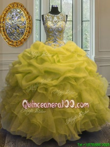 Top Selling Scoop Beading and Ruffles and Pick Ups Quinceanera Gown Yellow Lace Up Sleeveless Floor Length