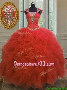 Lovely Sequins Straps Cap Sleeves Lace Up Ball Gown Prom Dress Coral Red Organza