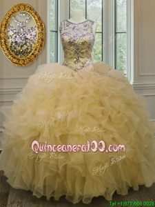 Scoop Sleeveless Organza Ball Gown Prom Dress Beading and Ruffles Lace Up