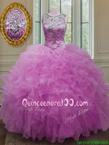 Fabulous Lilac Scoop Lace Up Beading and Ruffles 15th Birthday Dress Sleeveless