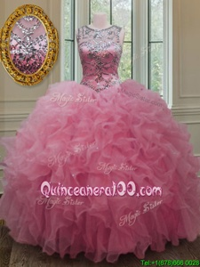 Beautiful Scoop Spring and Summer and Fall and Winter Organza Sleeveless Floor Length Quinceanera Gowns andBeading and Ruffles