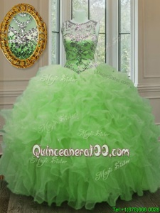 Latest Scoop Spring Green Sleeveless Beading and Ruffles Floor Length 15 Quinceanera Dress