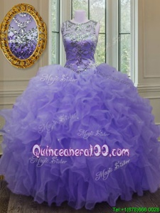Vintage Lavender Organza Lace Up Scoop Sleeveless Floor Length Quince Ball Gowns Beading and Ruffles