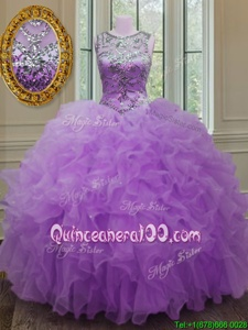 Lilac Lace Up Scoop Beading and Ruffles Sweet 16 Quinceanera Dress Organza Sleeveless