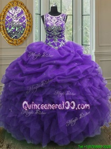 Delicate Purple Scoop Neckline Beading and Ruffles and Pick Ups Quinceanera Gown Sleeveless Lace Up