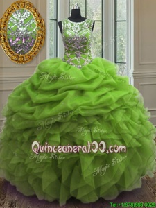 High Quality Spring Green Quinceanera Gown Military Ball and Sweet 16 and Quinceanera and For withBeading and Ruffles and Pick Ups Scoop Sleeveless Lace Up
