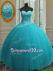 Elegant Tulle Sweetheart Sleeveless Lace Up Beading Quince Ball Gowns inAqua Blue