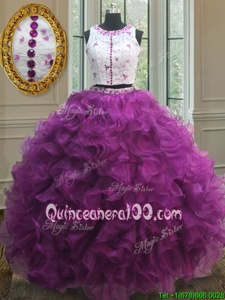 Fabulous Scoop Fuchsia Ball Gowns Appliques and Ruffles 15th Birthday Dress Clasp Handle Organza Sleeveless Floor Length