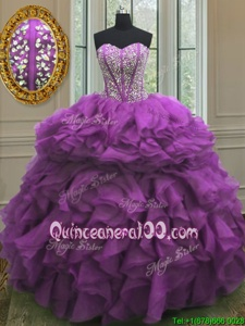 Glamorous Beading and Ruffles Vestidos de Quinceanera Purple Lace Up Sleeveless Floor Length