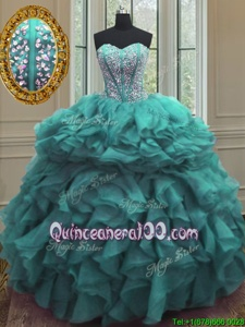 Romantic Floor Length Turquoise Quinceanera Gowns Sweetheart Sleeveless Lace Up