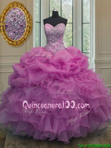 Sleeveless Beading and Ruffles and Pick Ups Lace Up Quinceanera Gowns