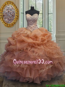 Beauteous Orange 15th Birthday Dress Military Ball and Sweet 16 and Quinceanera and For withBeading and Ruffles and Pick Ups Sweetheart Sleeveless Lace Up