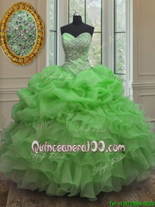 Spring Green Ball Gowns Sweetheart Sleeveless Organza Floor Length Lace Up Beading and Ruffles and Pick Ups Quince Ball Gowns