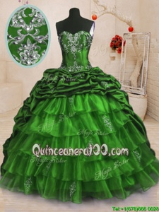 Great Sleeveless With Train Beading and Appliques and Ruffled Layers and Pick Ups Lace Up Quinceanera Dresses with Spring Green Sweep Train