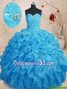 Nice Baby Blue Sleeveless Organza Lace Up Sweet 16 Quinceanera Dress forMilitary Ball and Sweet 16 and Quinceanera