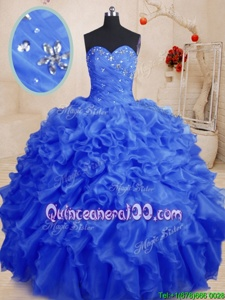 Super Royal Blue Ball Gowns Sweetheart Sleeveless Organza Floor Length Lace Up Beading and Ruffles 15th Birthday Dress