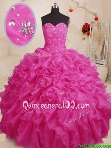 Exceptional Floor Length Lace Up Vestidos de Quinceanera Hot Pink and In forMilitary Ball and Sweet 16 and Quinceanera withBeading and Ruffles