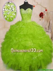 Edgy Yellow Green Quinceanera Gowns Military Ball and Sweet 16 and Quinceanera and For withBeading and Ruffles Sweetheart Sleeveless Lace Up
