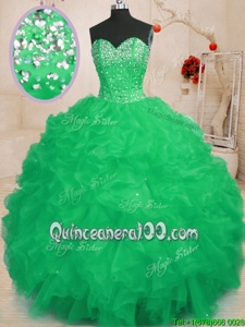 Admirable Sweetheart Sleeveless Lace Up 15 Quinceanera Dress Turquoise Organza