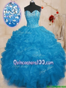 Glittering Beading and Ruffles 15th Birthday Dress Blue Lace Up Sleeveless Floor Length