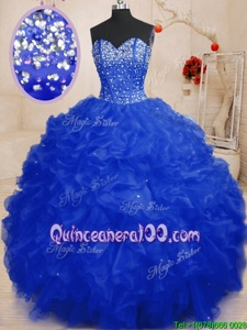 Wonderful Royal Blue Organza Lace Up Sweetheart Sleeveless Floor Length Sweet 16 Quinceanera Dress Beading and Ruffles