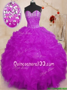 High End Ball Gowns Vestidos de Quinceanera Purple Sweetheart Organza Sleeveless Floor Length Lace Up