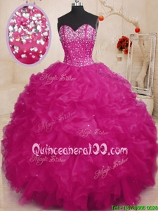 Fine Sleeveless Lace Up Floor Length Beading and Ruffles Ball Gown Prom Dress