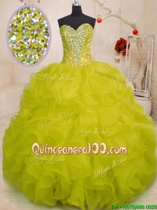 Simple Yellow Green Ball Gowns Organza Sweetheart Sleeveless Beading and Ruffles Floor Length Lace Up Vestidos de Quinceanera