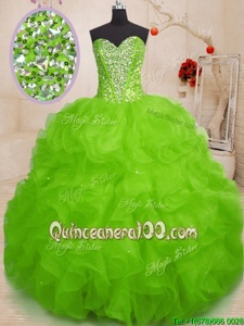 Spring Green Sleeveless Floor Length Beading and Ruffles Lace Up Sweet 16 Dresses
