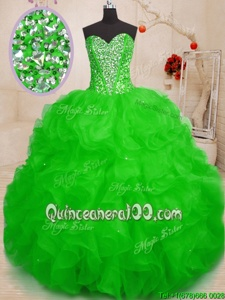 High Class Green Sleeveless Organza Lace Up Vestidos de Quinceanera forMilitary Ball and Sweet 16 and Quinceanera