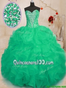 Decent Green Organza Lace Up 15 Quinceanera Dress Sleeveless Floor Length Beading and Ruffles