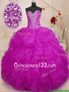 High Class Fuchsia Organza Lace Up Ball Gown Prom Dress Sleeveless Floor Length Beading and Ruffles