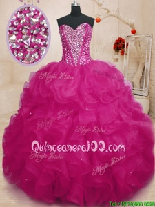 Enchanting Floor Length Ball Gowns Sleeveless Fuchsia Sweet 16 Quinceanera Dress Lace Up