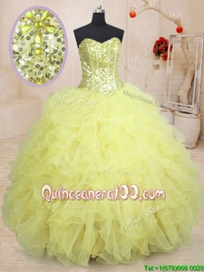 Lovely Light Yellow Sleeveless Floor Length Beading and Ruffles Lace Up Sweet 16 Quinceanera Dress